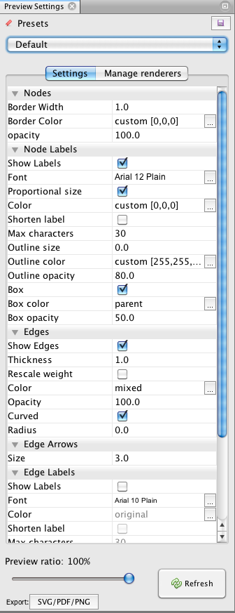 gephi preview settings tab